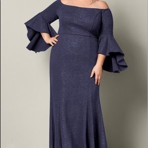 Plus size long off shoulder dress